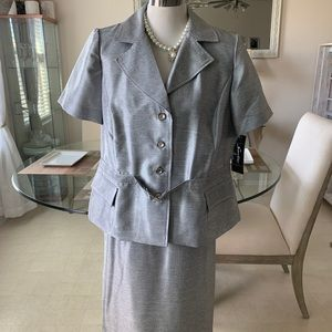 Silver 2 pc Sweet Suit with a front buckle
